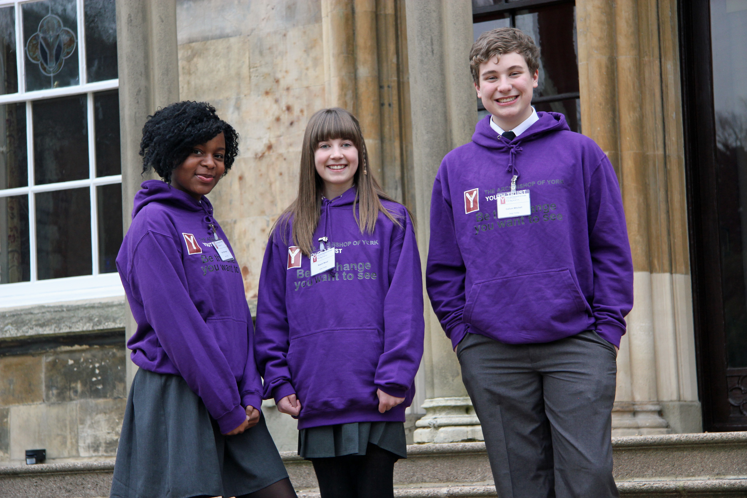 Holy Trinity Barnsley Young Leaders on steps at Bishopthorpe Palace