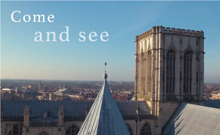 Tower of York Minster with words Come and See