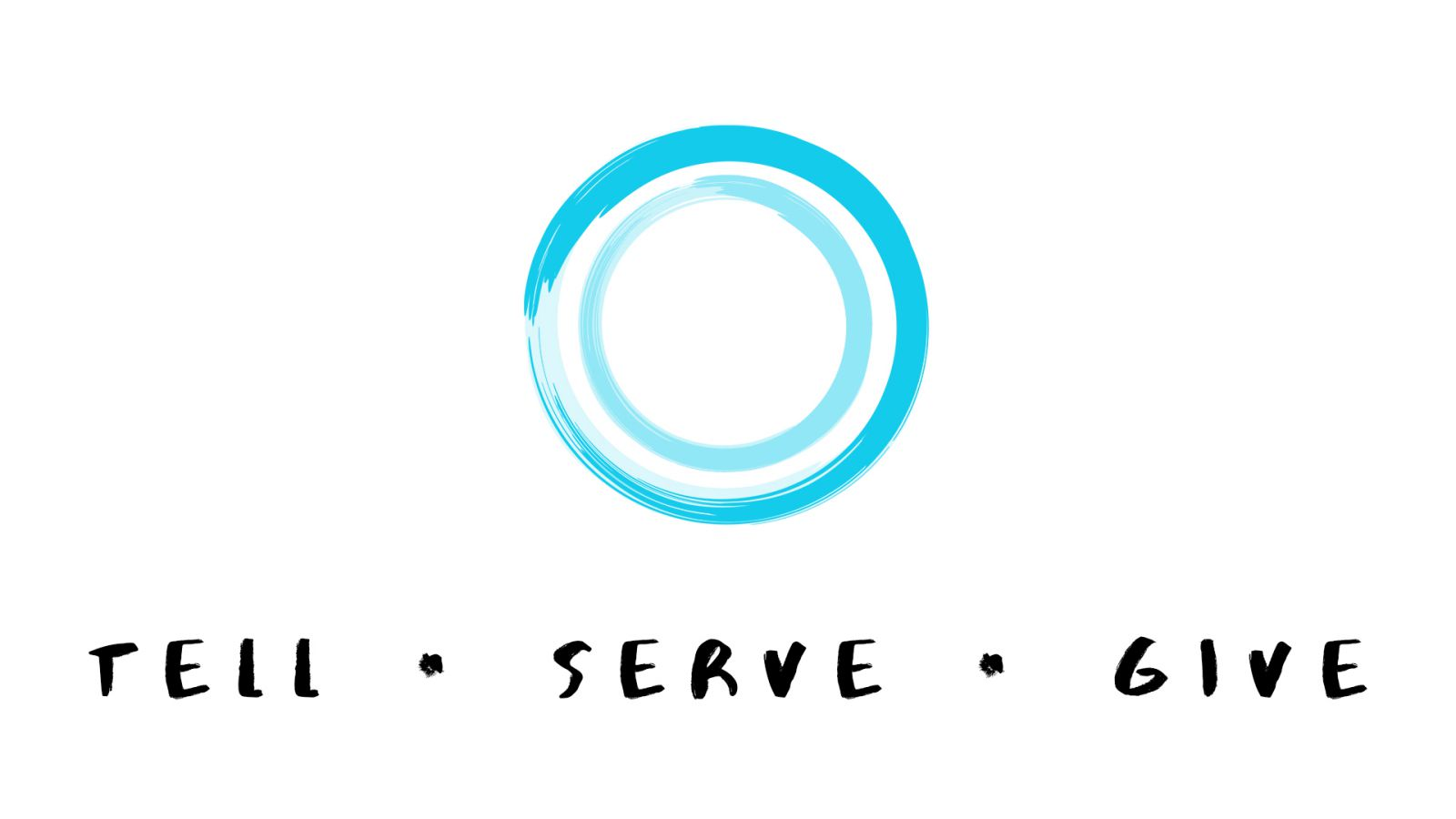 2 blue circles with the words Tell Serve Give underneath