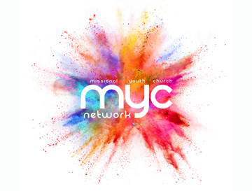 An explosion of powdered paint colours with myc network written in white over it