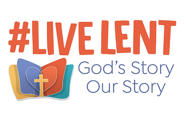 Words of Live Lent God's Story Our Story with depiction of open book with a cross laid across the pages