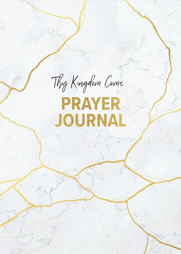 White and gold marble effect on front cover of Prayer Journal, title in gold