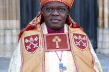 Archbishop John Sentamu in robes outside York Minster
