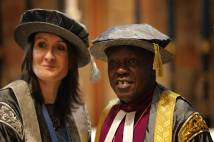 Vice Chancellor Julie Mennell and Archbishop in academic caps and gowns at University of Cumbria graduations