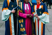 Chris Evans with Archbishop outside York Minster with honorary degree in hand