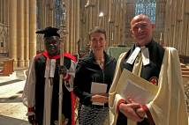 Archbishop with Pete and Cathy Wilcox at Confirmation of election at York Minster