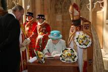 HM the Queen signing the visitors book in York Minster following the Maundy Service