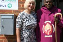 The Archbishop outside the newly opened Wilberforce Trust Sensory Hub
