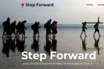 Step Forward banner - People walking across beach carrying crosses