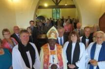 Archbishop with congregation at St James Fordon