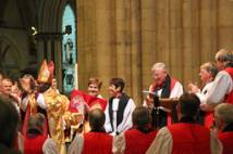 Consecration of Christine Hardman York Minster - surrounded by bishops