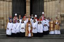 Deacons on York Minster steps following service