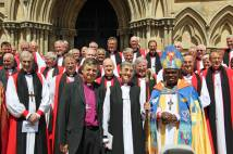 Frank and Alison White with Archbishop and Bishops following consecration