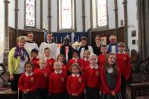 Pupils and Archbishop at St Lawrence's Church harvest service 2015