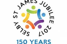 Logo for Selby St James 150th anniversary