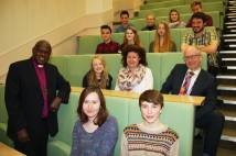Archbishop with staff and students in lecture theatre at York College