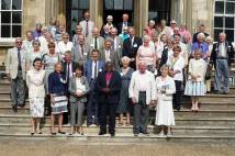 Supporters of Yorkshire Historic Churches Trust on steps of Bishopthorpe Palace