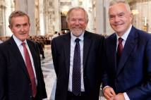 Showing Huw Edwards, Vice President of the National Churches Trust, Bill Bryson OBE Vice President of the National Churches Trust and Neil MacGregor, former Director of the British Museum and the National Gallery at St Paul's Cathedral on Tuesday 26 June 2018 for a service of Evensong to celebrate the 200th anniversary of the Incorporated Church Building Society.