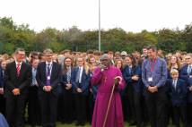 Archbishop in front of students and staff at the 10 year celebrations of Archbishop Sentamu Academy