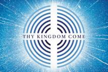 Logo for Thy Kingdom Come 2019 Blue & white concentric circles with a white cross through the middle with Thy Kingdom Come written on this