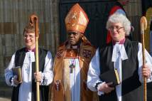 The Rt Revd Emma Ineson & The Rt Revd Sarah Clark with the Archbishop of York outside York Minster