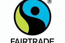Fairtrade logo - a circle with blue, black and green elements to it