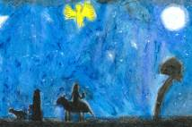 Drawn picture of Mary on donkey walking with Joseph at night time with deep blue sky and yellow angel figure in the sky