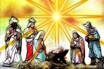 Drawing of the nativity Scene with bright rays of light shining behind the figures