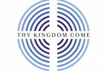 Concentric blue rings with Thy Kingdom Come written across the centre