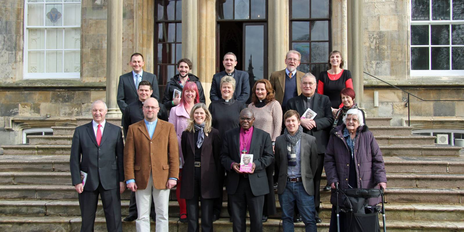 Contributors of Faith Stories Book on the steps at Bishopthorpe palace for the launch of the book