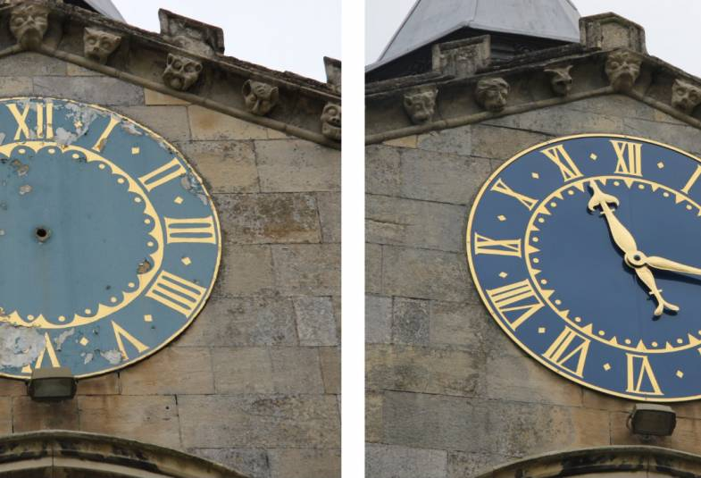 Gatehouse clock face old and new