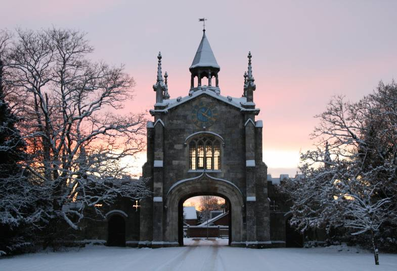 Bishopthorpe gatehouse in the snow during sunsent