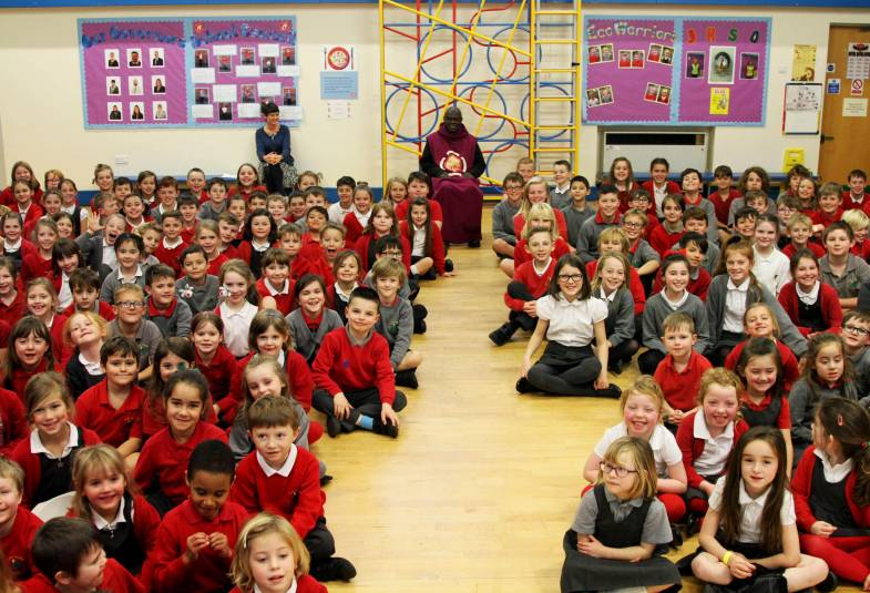 Archbishop in school assembly with pupils at Monk Fryston CE Primary School on Advent mission