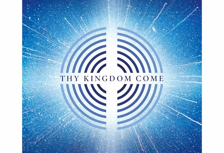 Blue and white circles with Thy Kingdom Come written in the middle