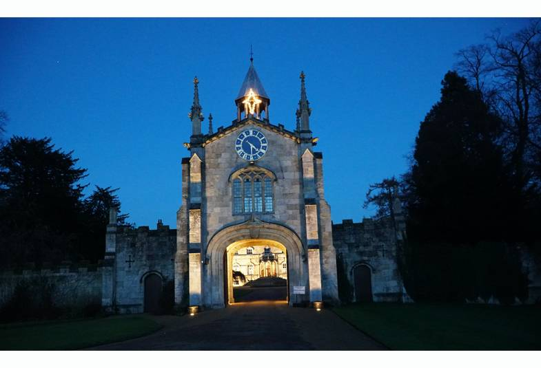 Gatehouse at Bishopthorpe Palace with illuminated star at the top