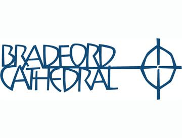 Logo for Bradford Cathedral - words and a cross in blue