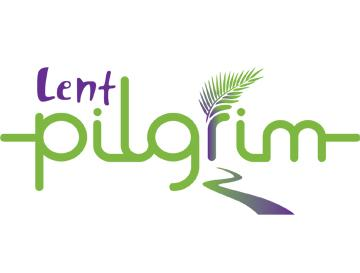 Logo - Purple Lent written above green pilgrim. Palm leaf sits above the r of pilgrim and there is a pathway going from the foreground to the letter r.