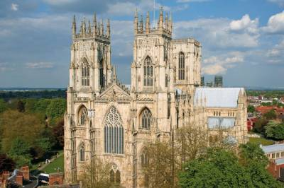 Exterior of York Minster from the air
