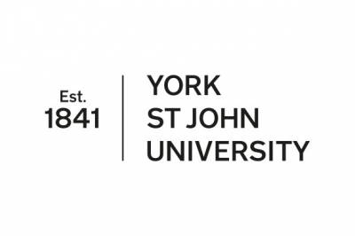 Black writing on white background York St  John University and Est 1841