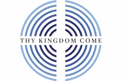 blue concentric circles with a white cross through them and the words Thy Kingdom Come across them