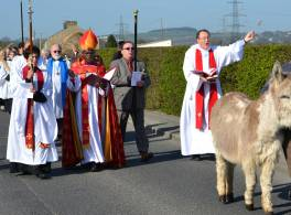 Palm Sunday procession with donkey