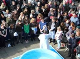 Open air baptisms outside St Michael le Belfrey Church