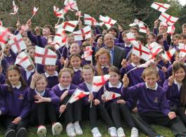 Pupils from Archbishop of York Junior School Wave Flags on St Georges Day