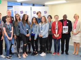Archbishop with students at Birkenhead Sixth form