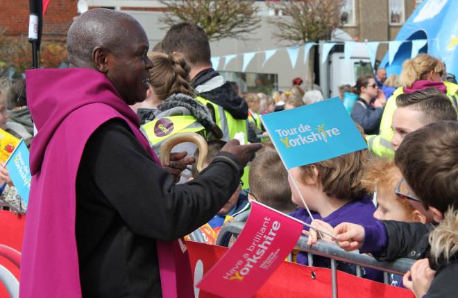 Archbishop meets Tour De Yorkshire supporters at Bridlington for the race start
