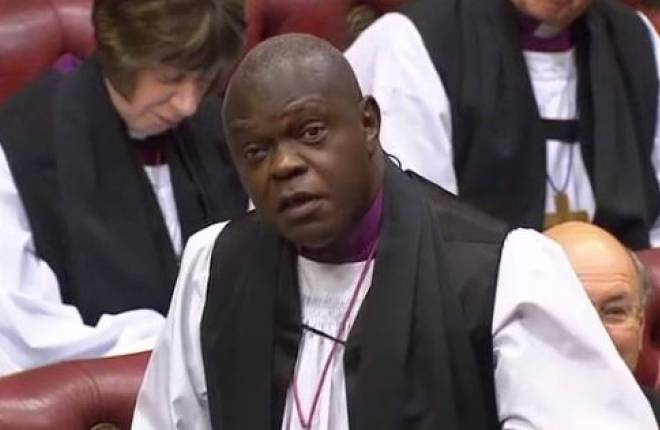 Archbishop of York taking part in a debate in the House of Lords