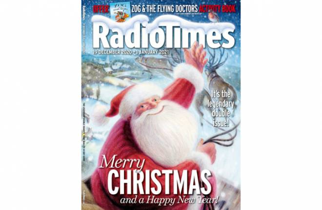 Front cover of Radio Times with Father Christmas smiling with left arm raised above him