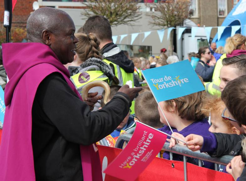 The Archbishop talking to supporters of the Tour de Yorkshire in Bridlington